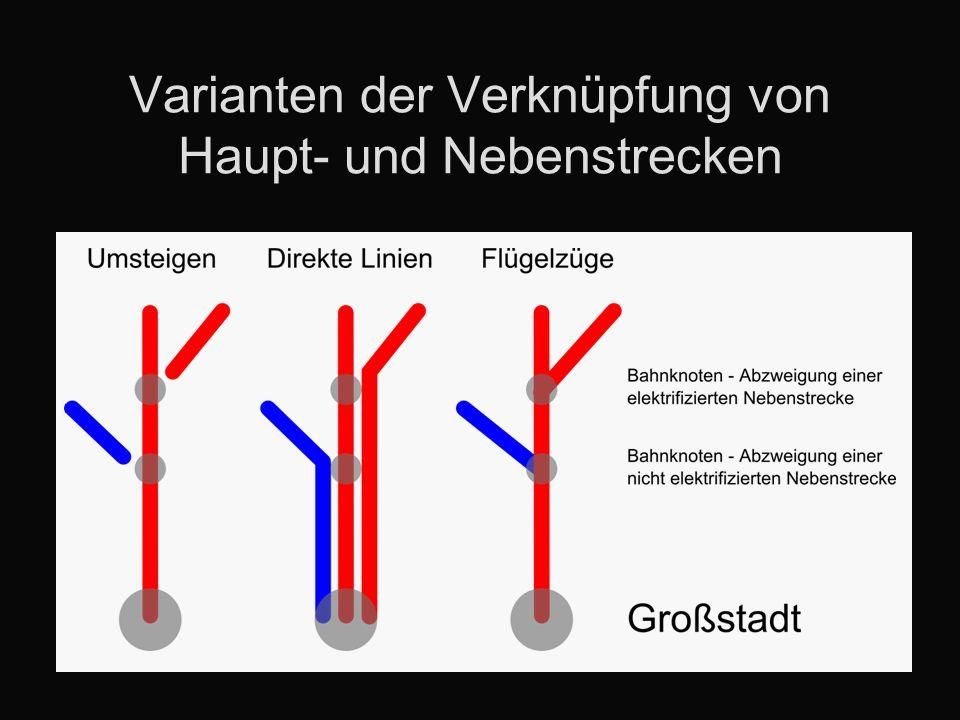 Varianten der Verknüpfung von Haupt- und Nebenstrecken