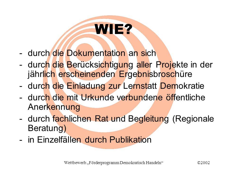 ©2002Wettbewerb Förderprogramm Demokratisch Handeln WIE.