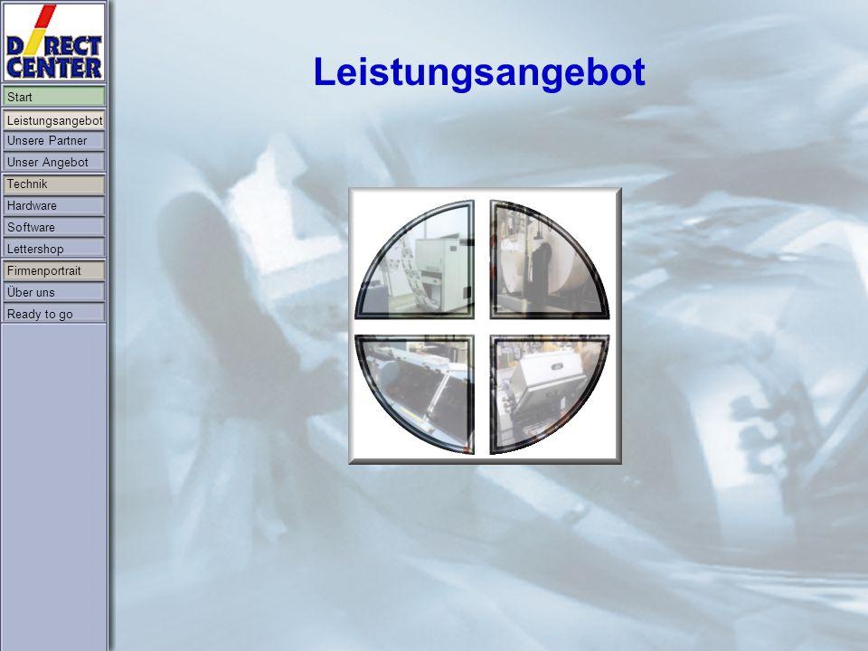 Start Leistungsangebot Unsere Partner Unser Angebot Technik Hardware Software Lettershop Firmenportrait Über uns Ready to go
