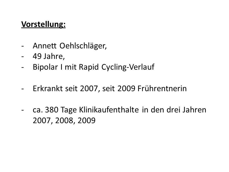 Vorstellung: -Annett Oehlschläger, -49 Jahre, -Bipolar I mit Rapid Cycling-Verlauf -Erkrankt seit 2007, seit 2009 Frührentnerin -ca. 380 Tage Klinikau