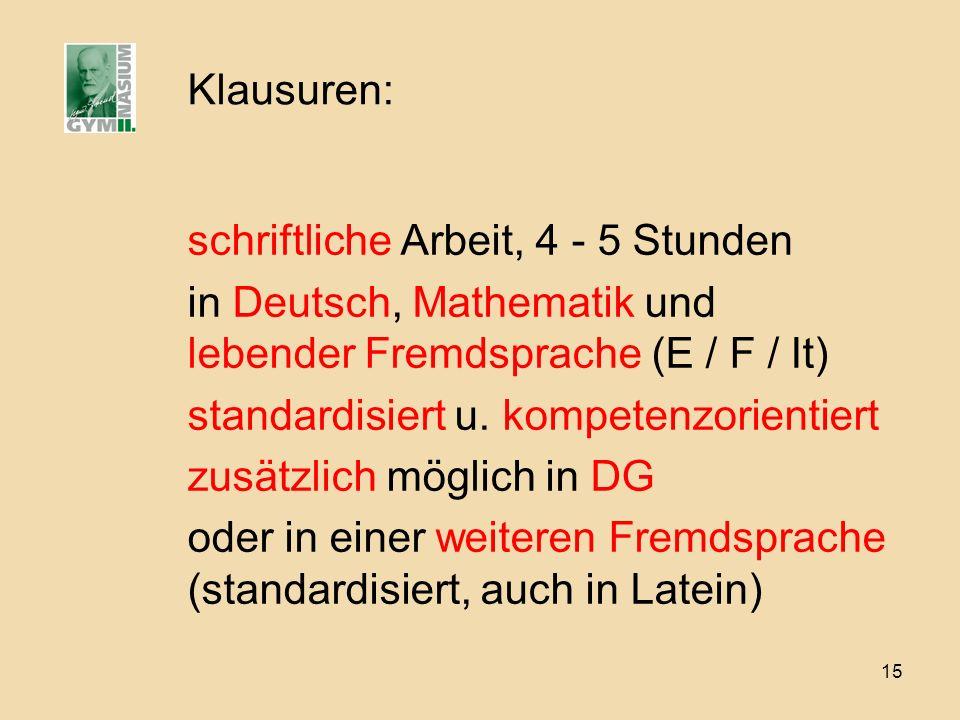 15 Klausuren: schriftliche Arbeit, 4 - 5 Stunden in Deutsch, Mathematik und lebender Fremdsprache (E / F / It) standardisiert u. kompetenzorientiert z