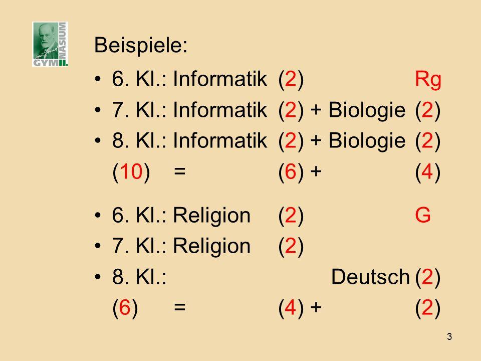 3 Beispiele: 6. Kl.: Informatik(2)Rg 7. Kl.: Informatik(2) + Biologie(2) 8. Kl.: Informatik(2) + Biologie(2) (10) =(6) +(4) 6. Kl.: Religion(2)G 7. Kl