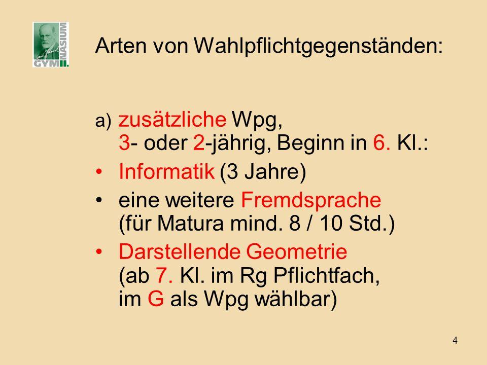 4 Arten von Wahlpflichtgegenständen: a) zusätzliche Wpg, 3- oder 2-jährig, Beginn in 6. Kl.: Informatik (3 Jahre) eine weitere Fremdsprache (für Matur