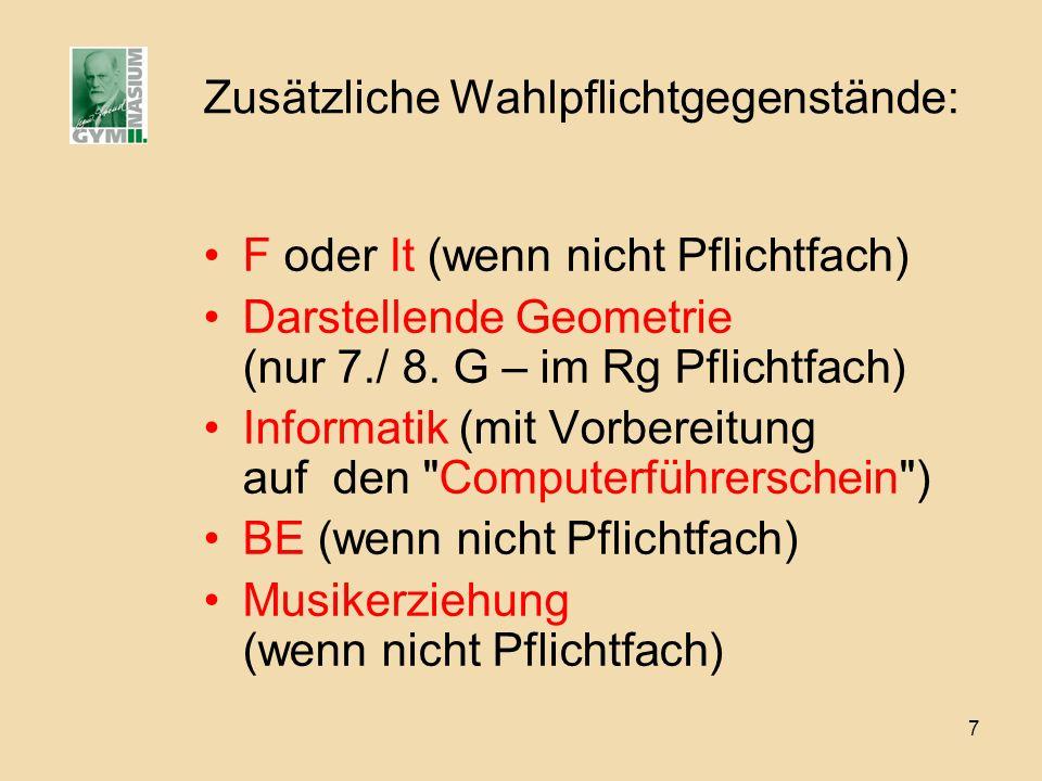 7 Zusätzliche Wahlpflichtgegenstände: F oder It (wenn nicht Pflichtfach) Darstellende Geometrie (nur 7./ 8. G – im Rg Pflichtfach) Informatik (mit Vor