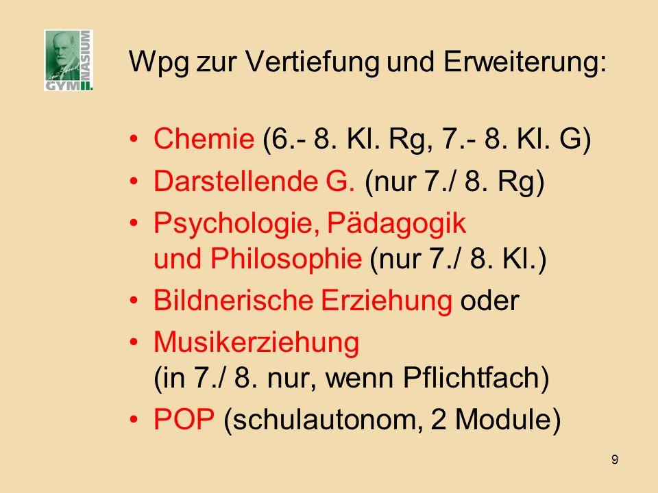 9 Wpg zur Vertiefung und Erweiterung: Chemie (6.- 8. Kl. Rg, 7.- 8. Kl. G) Darstellende G. (nur 7./ 8. Rg) Psychologie, Pädagogik und Philosophie (nur