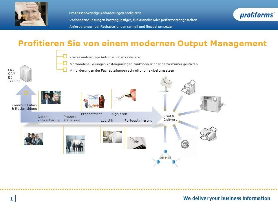 1 |1 | We deliver your business information Profitieren Sie von einem modernen Output Management Prozessnotwendige Anforderungen realisieren Vorhanden