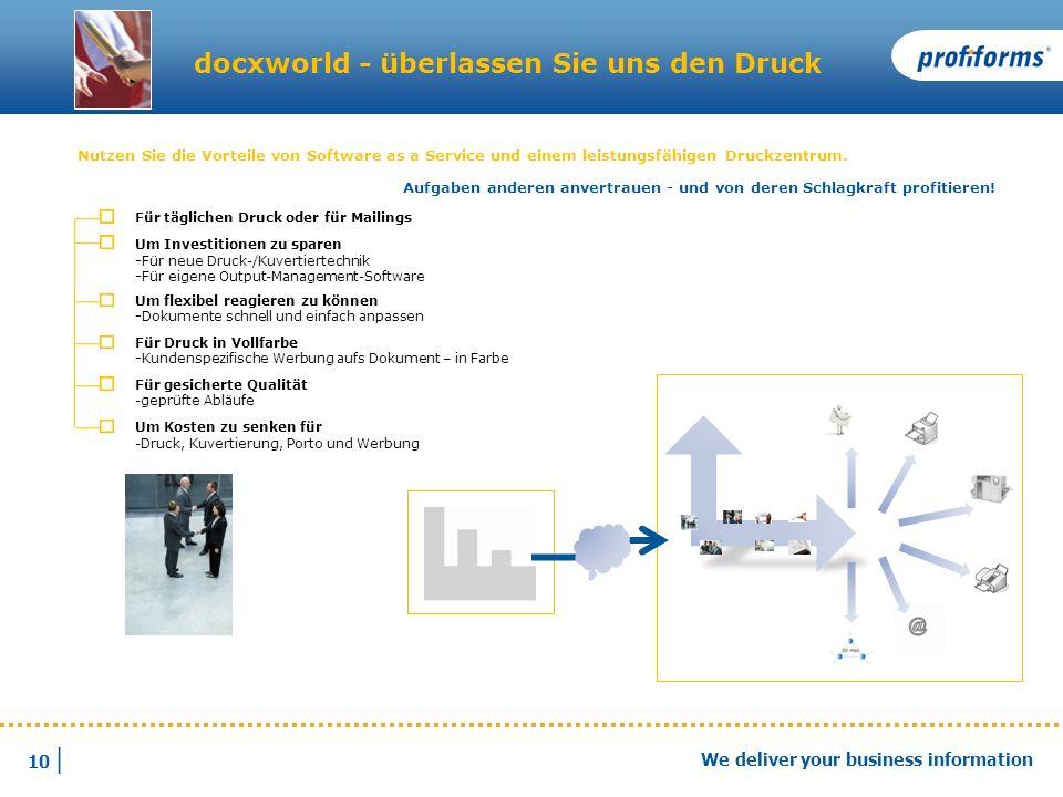 10 | We deliver your business information docxworld - überlassen Sie uns den Druck Nutzen Sie die Vorteile von Software as a Service und einem leistun