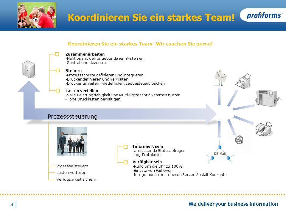3 |3 | We deliver your business information Koordinieren Sie ein starkes Team! Prozesse steuern Lasten verteilen Verfügbarkeit sichern Zusammenarbeite