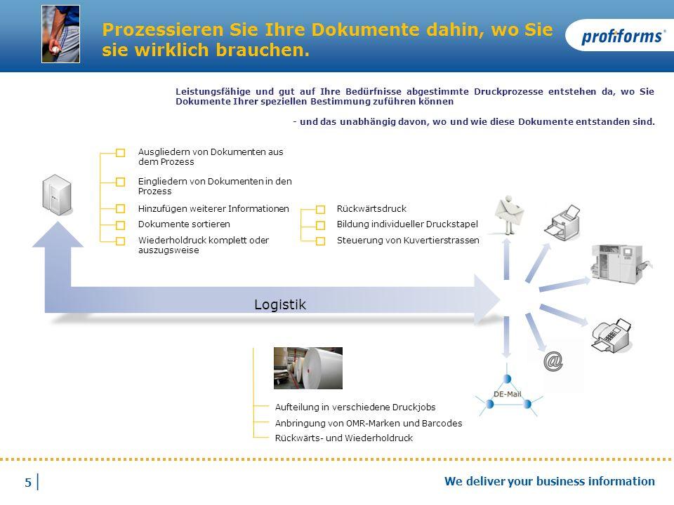 5 |5 | We deliver your business information Logistik Prozessieren Sie Ihre Dokumente dahin, wo Sie sie wirklich brauchen. Aufteilung in verschiedene D