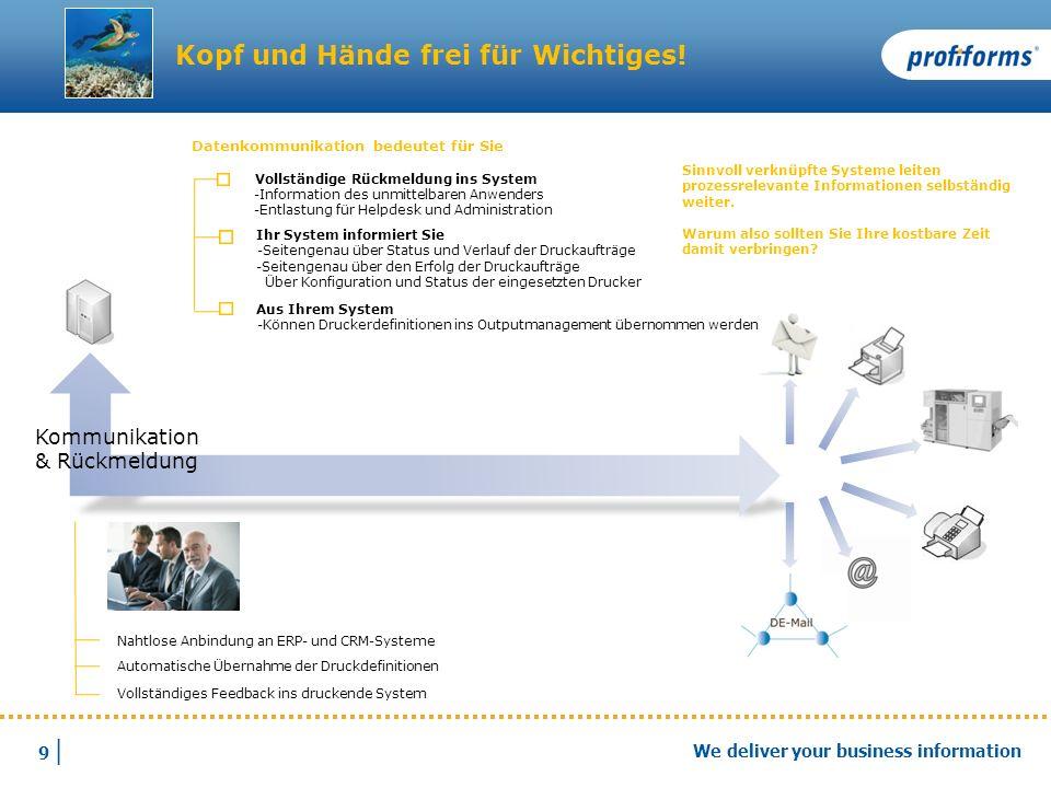 9 |9 | We deliver your business information Kommunikation & Rückmeldung Nahtlose Anbindung an ERP- und CRM-Systeme Automatische Übernahme der Druckdef