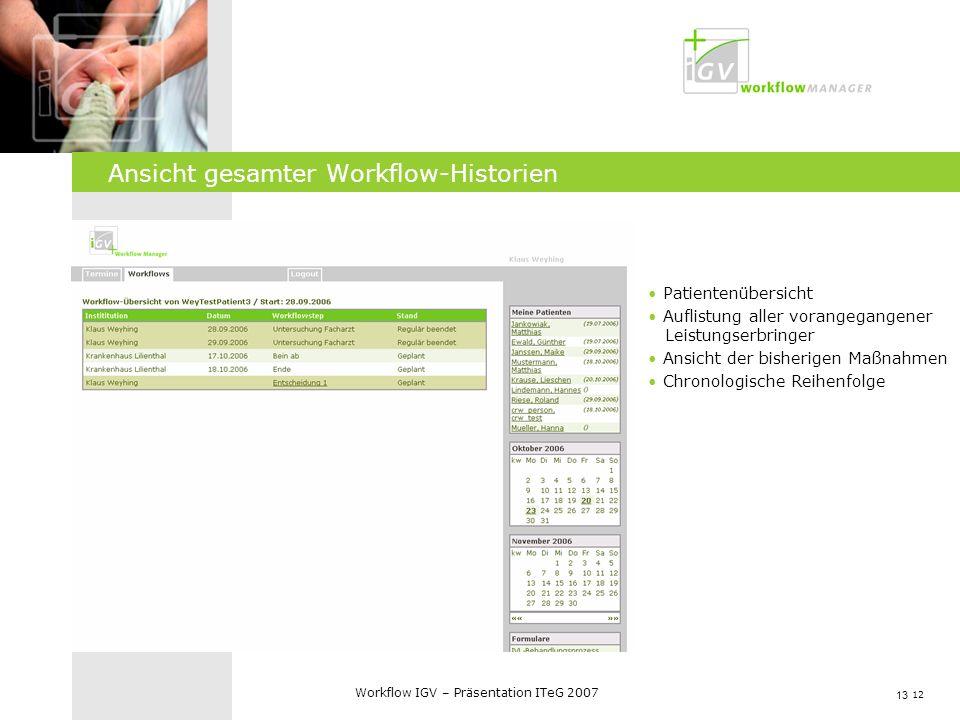 12 Workflow IGV – Präsentation ITeG 2007 Ansicht gesamter Workflow-Historien 13 Patientenübersicht Auflistung aller vorangegangener Leistungserbringer