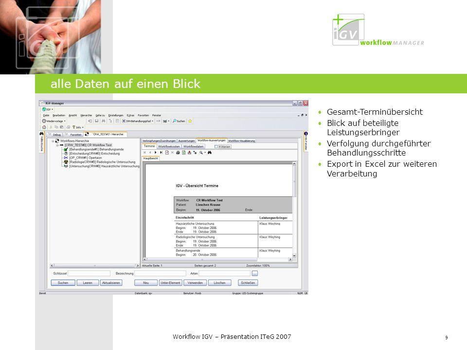 10 Workflow IGV – Präsentation ITeG 2007 IGV Web-Frontend Übersicht eigener Termine Auflistung eigener Patienten Kalenderfunktion Download von workflowbezogenen Dokumenten Überweisungsbögen, Infos IGV Webanwendung