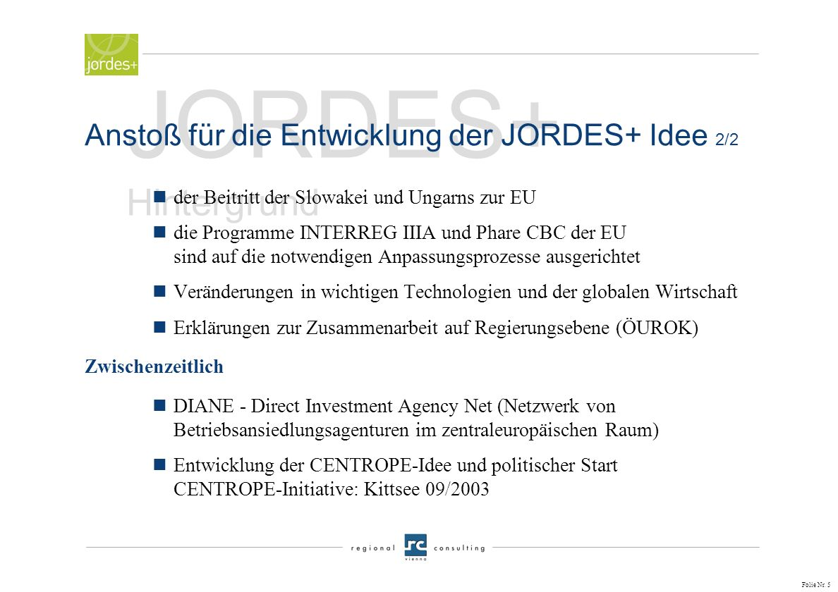 Folie Nr. 4 JORDES+ Hintergrund nINTERREG-Erfahrungen in der Region Wien-Bratislava-Györ (Städtekooperationen VITECC - Vienna Tele Co-operation Centre