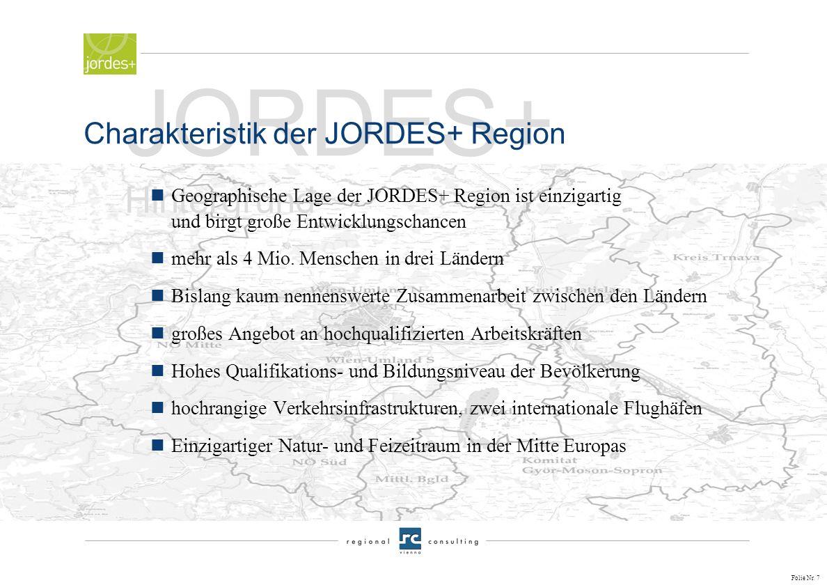 Folie Nr. 6 JORDES+ Hintergrund von der Idee zum Projekt nEntschluss der in der Region Wien – Bratislava – Györ gelegenen Gebietskörperschaften zum St