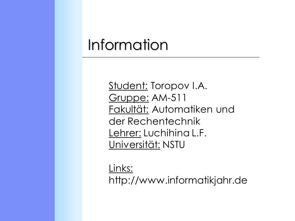Information Student: Toropov I.A.