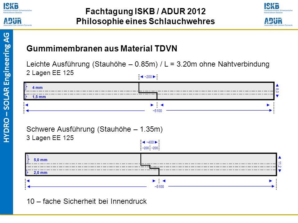 HYDRO – SOLAR Engineering AG Fachtagung ISKB / ADUR 2012 Philosophie eines Schlauchwehres Leichte Ausführung (Stauhöhe – 0.85m) / L = 3.20m ohne Nahtv