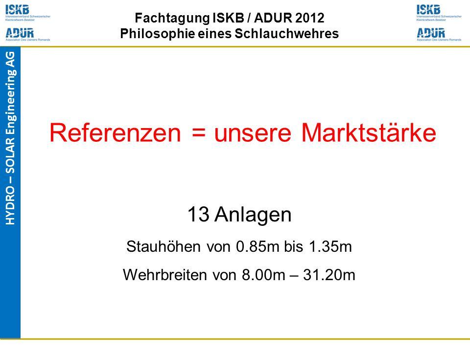 HYDRO – SOLAR Engineering AG Fachtagung ISKB / ADUR 2012 Philosophie eines Schlauchwehres Referenzen = unsere Marktstärke 13 Anlagen Stauhöhen von 0.8