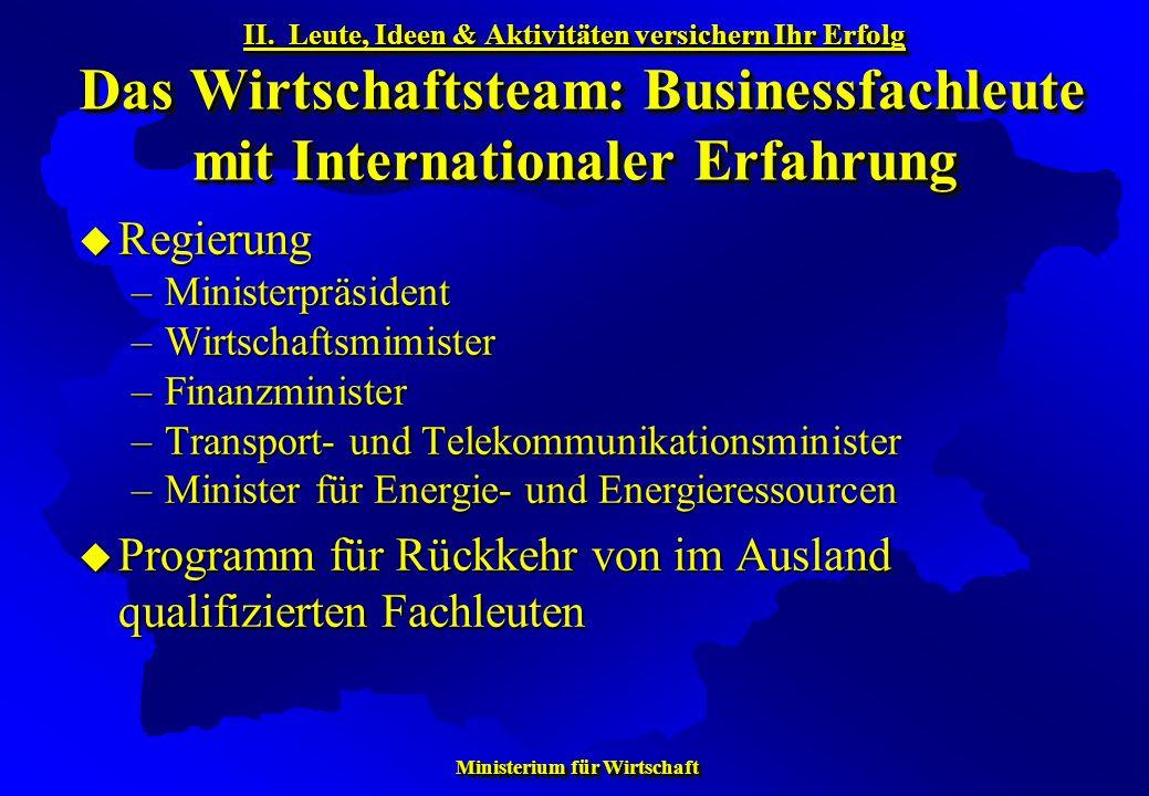 Ministerium für Wirtschaft Ministerium für Wirtschaft Regierung Regierung –Ministerpräsident –Wirtschaftsmimister –Finanzminister –Transport- und Tele