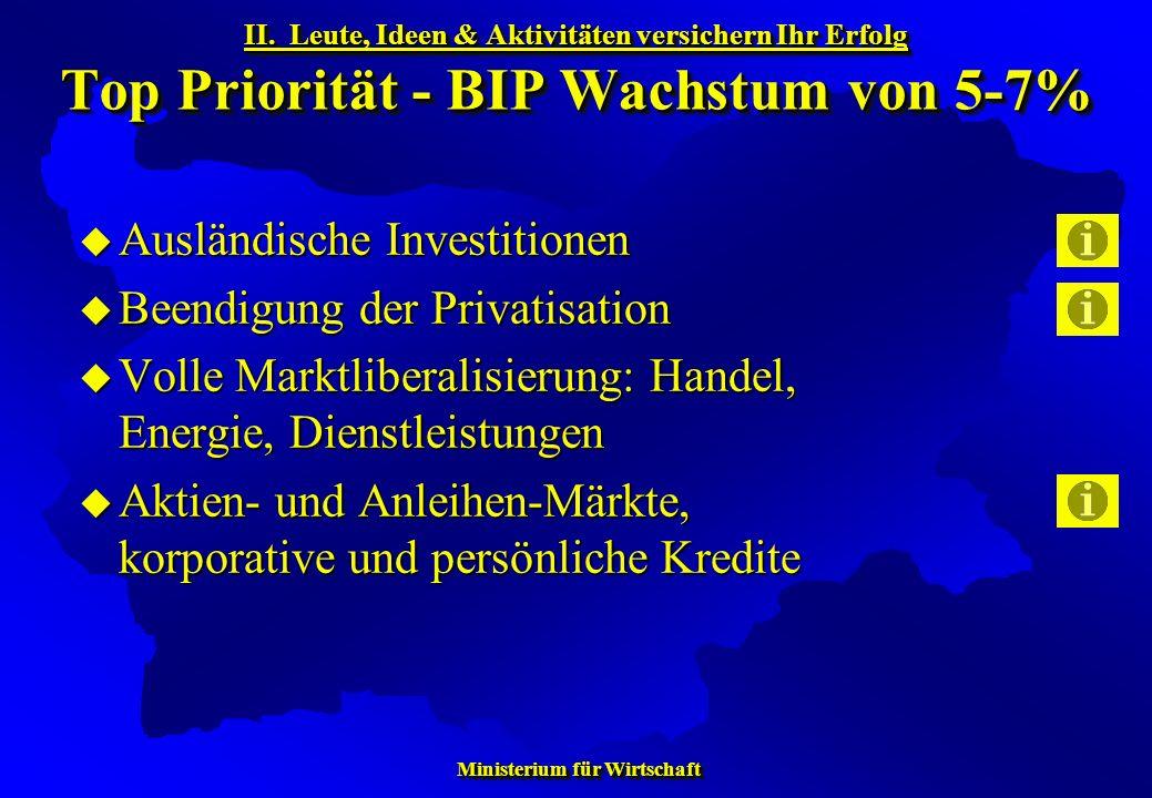 Ministerium für Wirtschaft Ministerium für Wirtschaft Ausländische Investitionen Ausländische Investitionen Beendigung der Privatisation Beendigung de