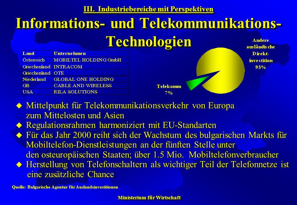 Ministerium für Wirtschaft Ministerium für Wirtschaft Mittelpunkt für Telekommunikationsverkehr von Europa zum Mittelosten und Asien Mittelpunkt für T