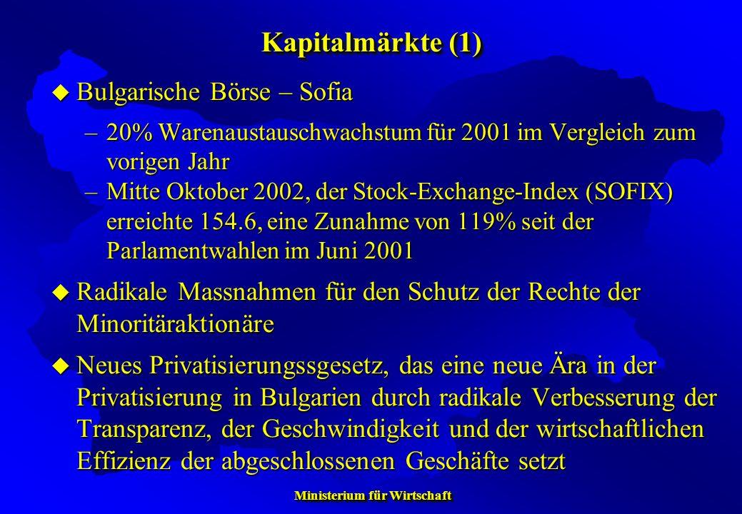 Ministerium für Wirtschaft Ministerium für Wirtschaft Bulgarische Börse – Sofia Bulgarische Börse – Sofia –20% Warenaustauschwachstum für 2001 im Verg