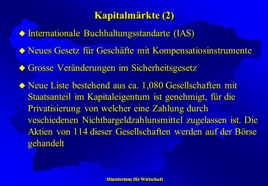 Ministerium für Wirtschaft Ministerium für Wirtschaft Internationale Buchhaltungsstandarte (IAS) Internationale Buchhaltungsstandarte (IAS) Neues Gese