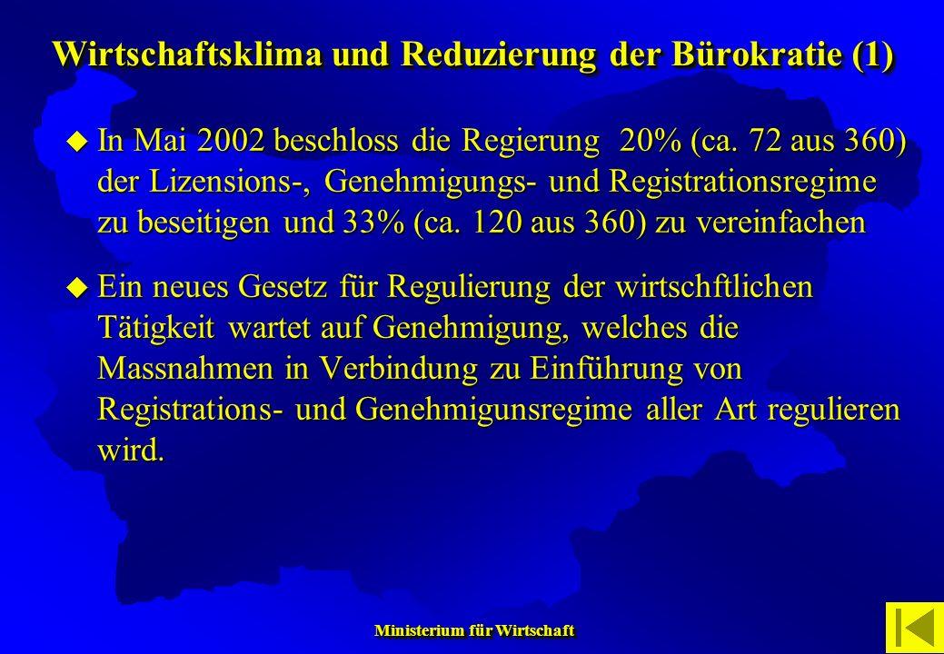 Ministerium für Wirtschaft Ministerium für Wirtschaft In Mai 2002 beschloss die Regierung 20% (ca. 72 aus 360) der Lizensions-, Genehmigungs- und Regi