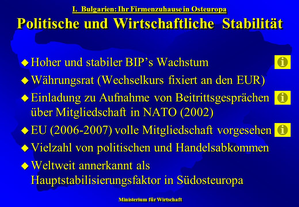 Ministerium für Wirtschaft Ministerium für Wirtschaft Hoher und stabiler BIPs Wachstum Hoher und stabiler BIPs Wachstum Währungsrat (Wechselkurs fixie