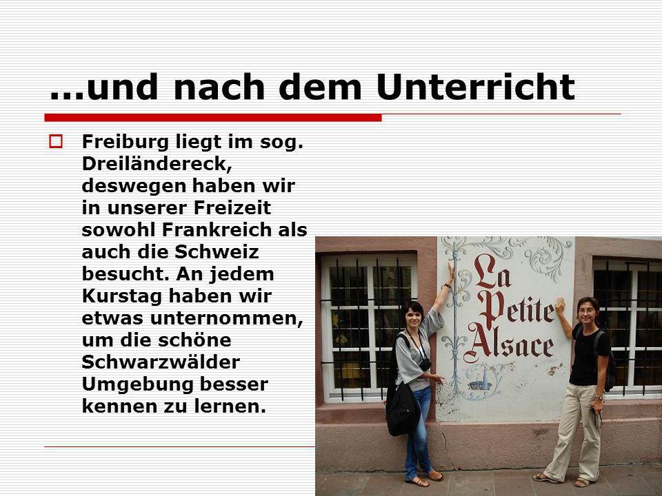 ...und nach dem Unterricht Freiburg liegt im sog. Dreiländereck, deswegen haben wir in unserer Freizeit sowohl Frankreich als auch die Schweiz besucht
