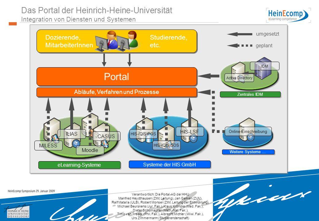 Verantwortlich: Die Portal-AG der HHU Manfred Heydthausen (ZIM, Leitung), Jan Gerken (ZUV), Ralf Matalla (ULB), Robert Monser (ZIM, Leitung der Entwicklung), Michael Beurskens (Jur.