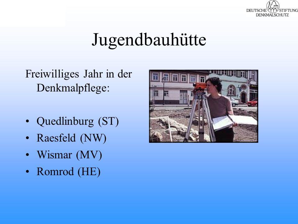 Jugendbauhütte Freiwilliges Jahr in der Denkmalpflege: Quedlinburg (ST) Raesfeld (NW) Wismar (MV) Romrod (HE)
