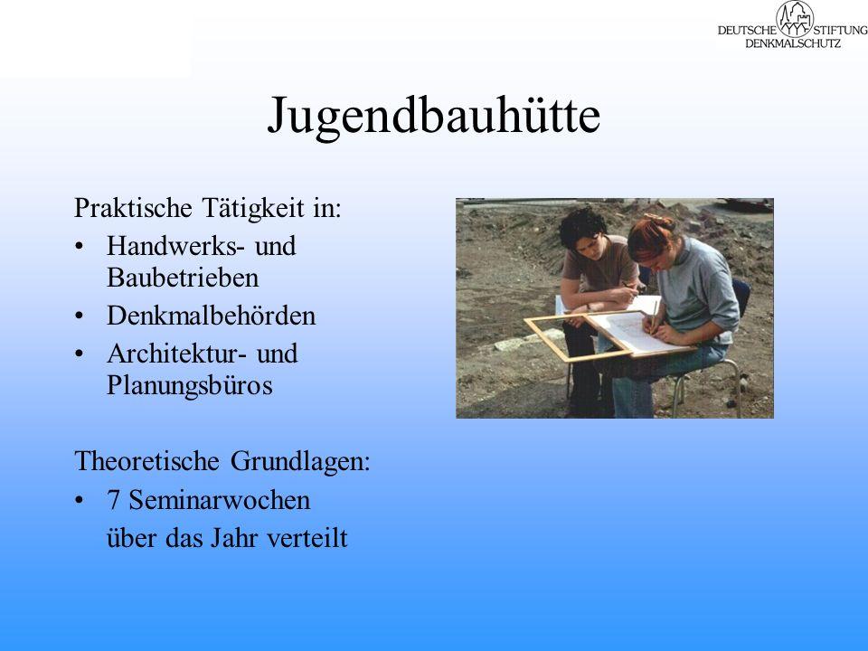 Jugendbauhütte Praktische Tätigkeit in: Handwerks- und Baubetrieben Denkmalbehörden Architektur- und Planungsbüros Theoretische Grundlagen: 7 Seminarwochen über das Jahr verteilt