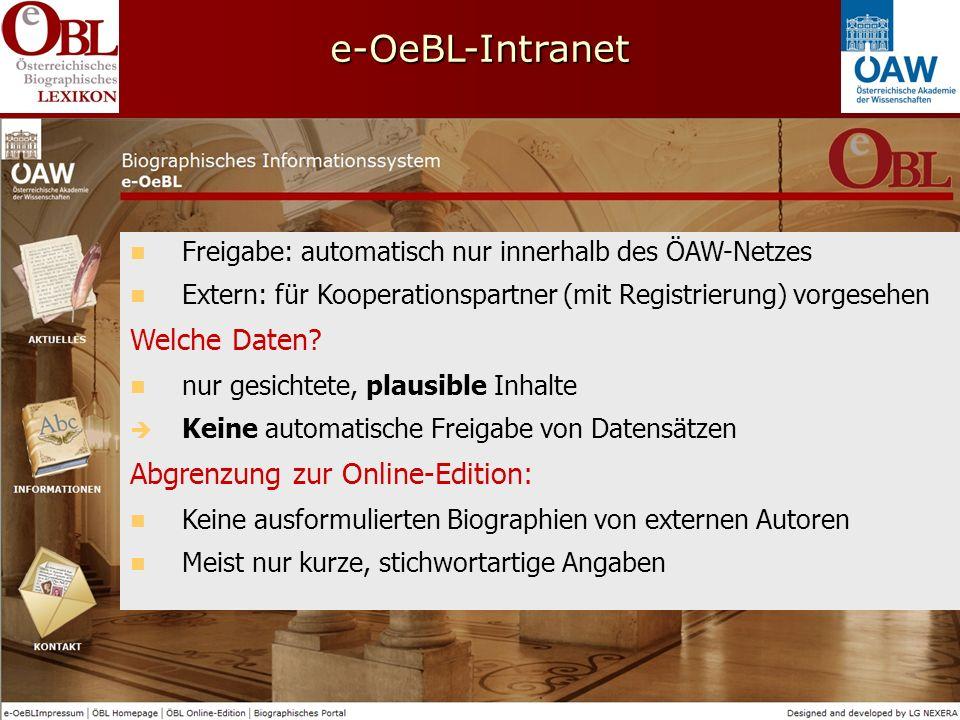 e-OeBL-Intranet Freigabe: automatisch nur innerhalb des ÖAW-Netzes Extern: für Kooperationspartner (mit Registrierung) vorgesehen Welche Daten.