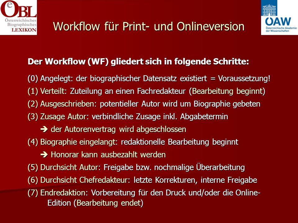 Workflow für Print- und Onlineversion Der Workflow (WF) gliedert sich in folgende Schritte: (0) Angelegt: der biographischer Datensatz existiert = Voraussetzung.