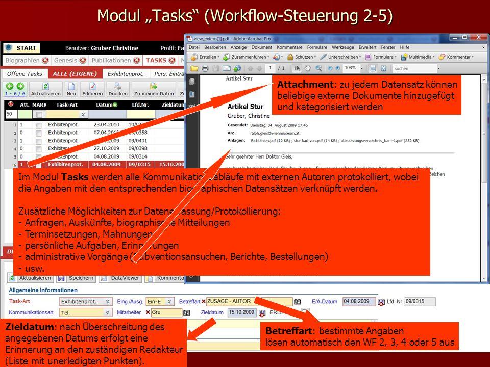 Modul Tasks (Workflow-Steuerung 2-5) Betreffart: bestimmte Angaben lösen automatisch den WF 2, 3, 4 oder 5 aus Attachment: zu jedem Datensatz können beliebige externe Dokumente hinzugefügt und kategorisiert werden Im Modul Tasks werden alle Kommunikationsabläufe mit externen Autoren protokolliert, wobei die Angaben mit den entsprechenden biographischen Datensätzen verknüpft werden.