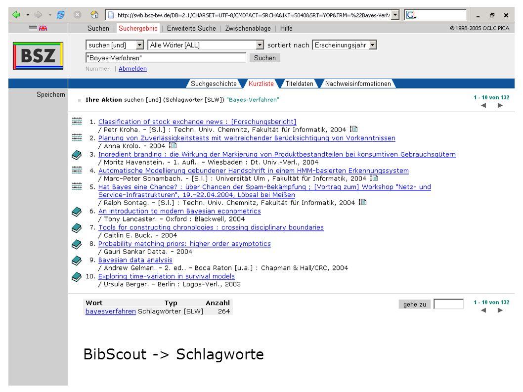 Flagge zeigen im Web W. Heymans, BSZ11 BibScout -> Schlagworte