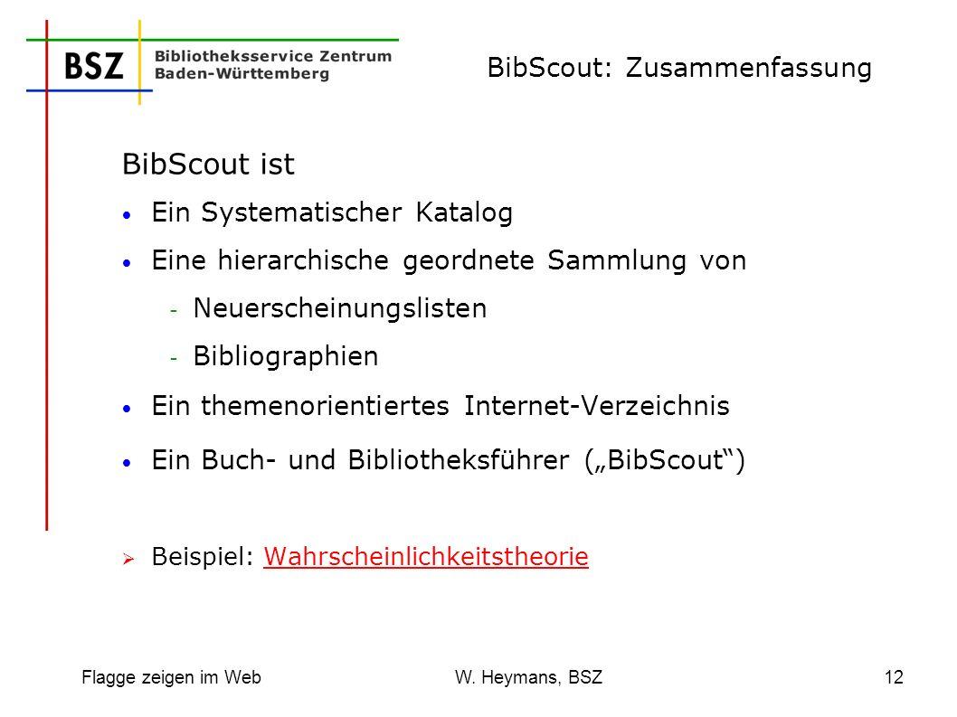Flagge zeigen im Web W. Heymans, BSZ12 BibScout: Zusammenfassung BibScout ist Ein Systematischer Katalog Eine hierarchische geordnete Sammlung von - N