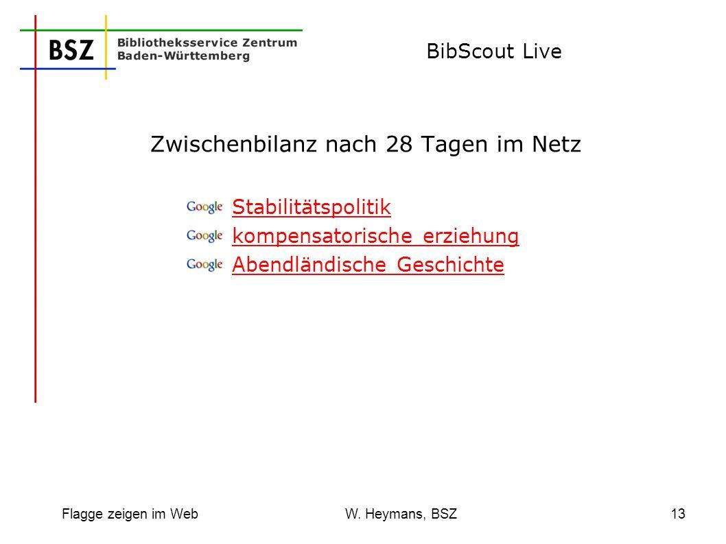 Flagge zeigen im Web W. Heymans, BSZ13 BibScout Live Zwischenbilanz nach 28 Tagen im Netz Stabilitätspolitik kompensatorische erziehung Abendländische
