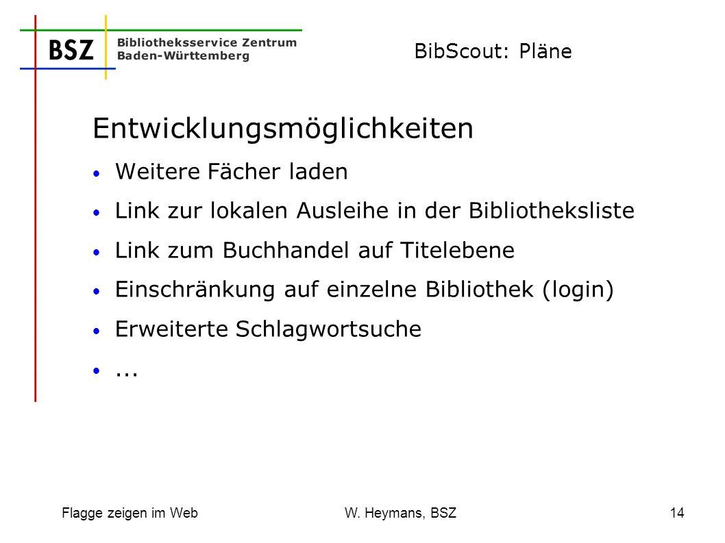 Flagge zeigen im Web W. Heymans, BSZ14 BibScout: Pläne Entwicklungsmöglichkeiten Weitere Fächer laden Link zur lokalen Ausleihe in der Bibliothekslist