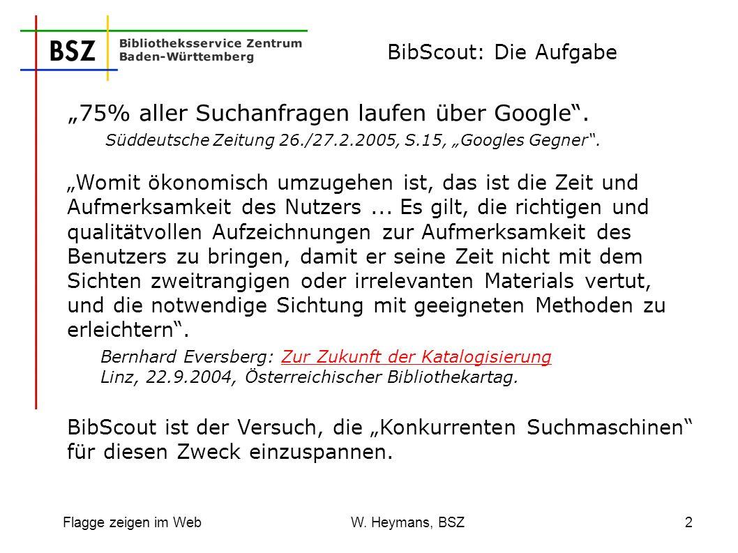 Flagge zeigen im Web W. Heymans, BSZ2 BibScout: Die Aufgabe 75% aller Suchanfragen laufen über Google. Süddeutsche Zeitung 26./27.2.2005, S.15, Google