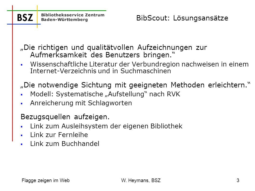 Flagge zeigen im Web W. Heymans, BSZ3 BibScout: Lösungsansätze Die richtigen und qualitätvollen Aufzeichnungen zur Aufmerksamkeit des Benutzers bringe