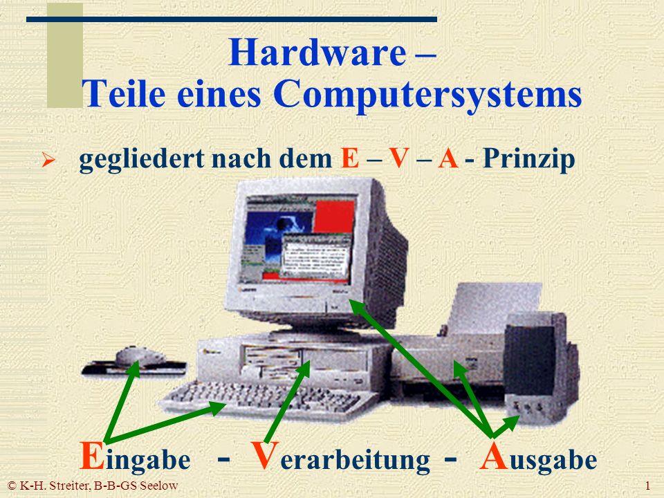 © K-H. Streiter, B-B-GS Seelow 1 Hardware – Teile eines Computersystems gegliedert nach dem E – V – A - Prinzip E ingabe - V erarbeitung - A usgabe