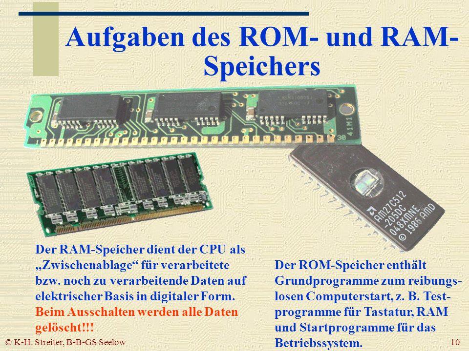 © K-H. Streiter, B-B-GS Seelow 10 Aufgaben des ROM- und RAM- Speichers Der RAM-Speicher dient der CPU als Zwischenablage für verarbeitete bzw. noch zu