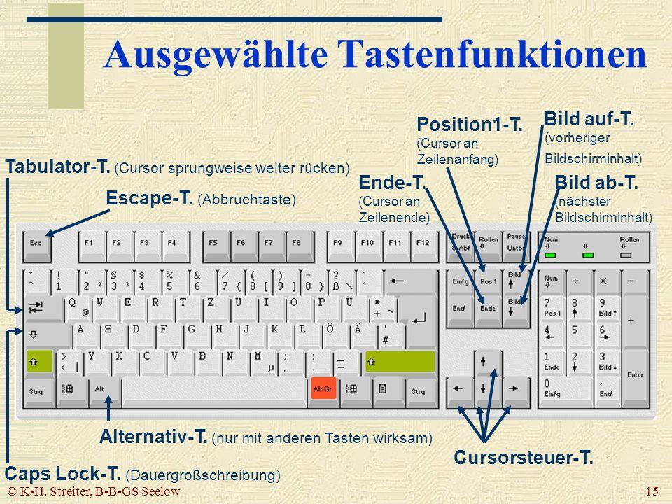 © K-H. Streiter, B-B-GS Seelow 15 Ausgewählte Tastenfunktionen Escape-T. (Abbruchtaste) Tabulator-T. (Cursor sprungweise weiter rücken) Caps Lock-T. (