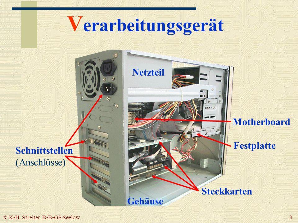 © K-H. Streiter, B-B-GS Seelow 3 V erarbeitungsgerät Gehäuse Netzteil Schnittstellen (Anschlüsse) Festplatte Steckkarten Motherboard