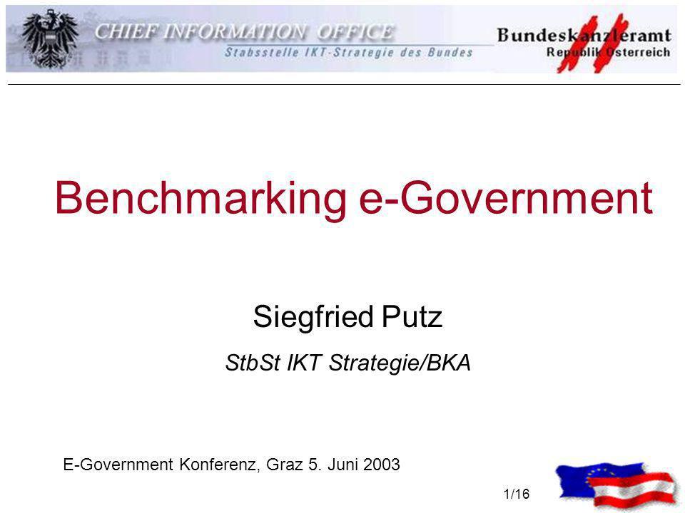 1/16 Benchmarking e-Government Siegfried Putz StbSt IKT Strategie/BKA E-Government Konferenz, Graz 5. Juni 2003