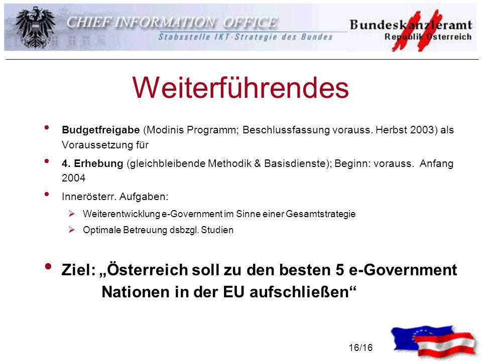 16/16 Weiterführendes Budgetfreigabe (Modinis Programm; Beschlussfassung vorauss. Herbst 2003) als Voraussetzung für 4. Erhebung (gleichbleibende Meth