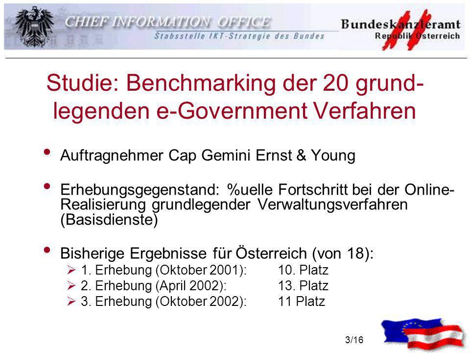 3/16 Studie: Benchmarking der 20 grund- legenden e-Government Verfahren Auftragnehmer Cap Gemini Ernst & Young Erhebungsgegenstand: %uelle Fortschritt