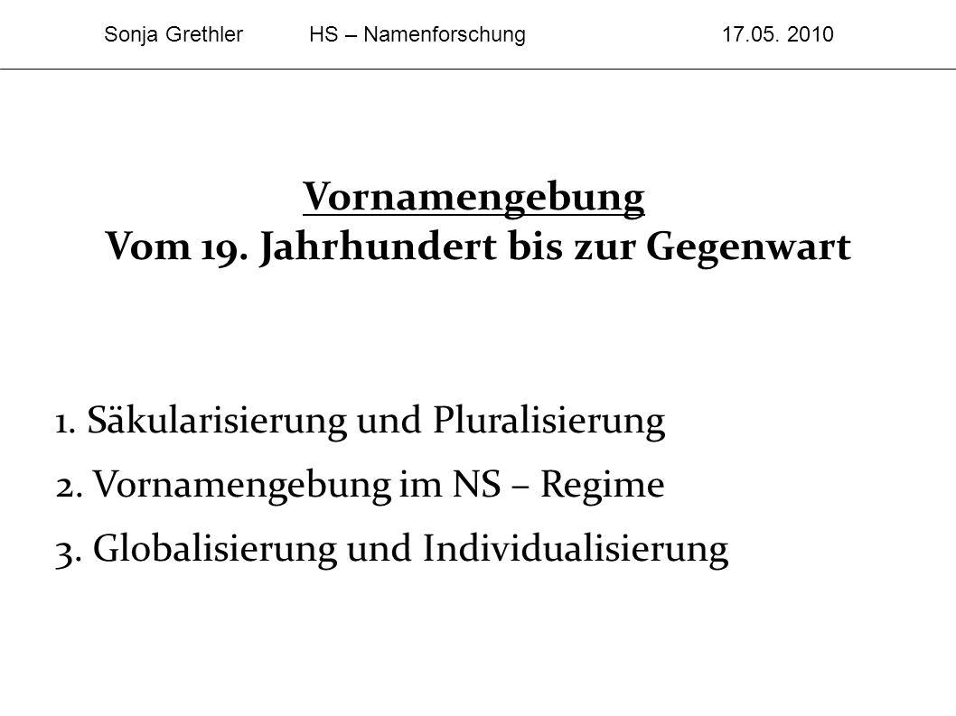 Vornamengebung Vom 19. Jahrhundert bis zur Gegenwart 1. Säkularisierung und Pluralisierung 2. Vornamengebung im NS – Regime 3. Globalisierung und Indi