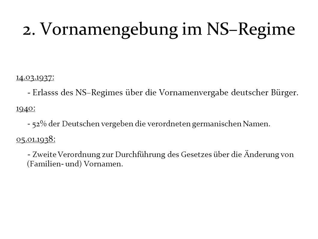 2. Vornamengebung im NS–Regime 14.03.1937: - Erlasss des NS–Regimes über die Vornamenvergabe deutscher Bürger. 1940: - 52% der Deutschen vergeben die